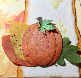 395 Pressed Leaves in Pumpkin Card Julie Heyer CS