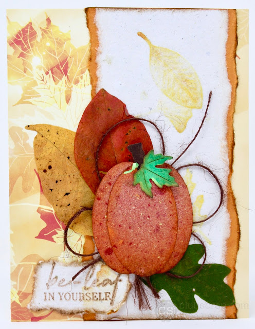Fall Card with Handmade Paper by Julie Heyer