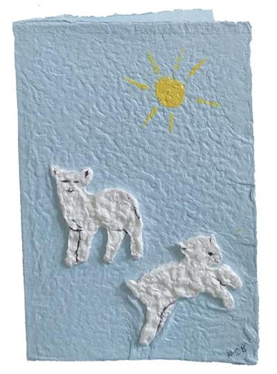 Arnold Grummer's handmade paper 'LAMBS' card