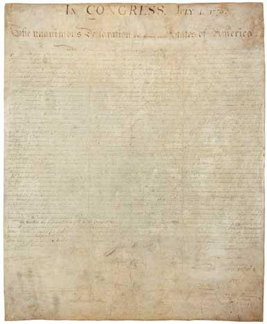 US Declaration of Independence original document